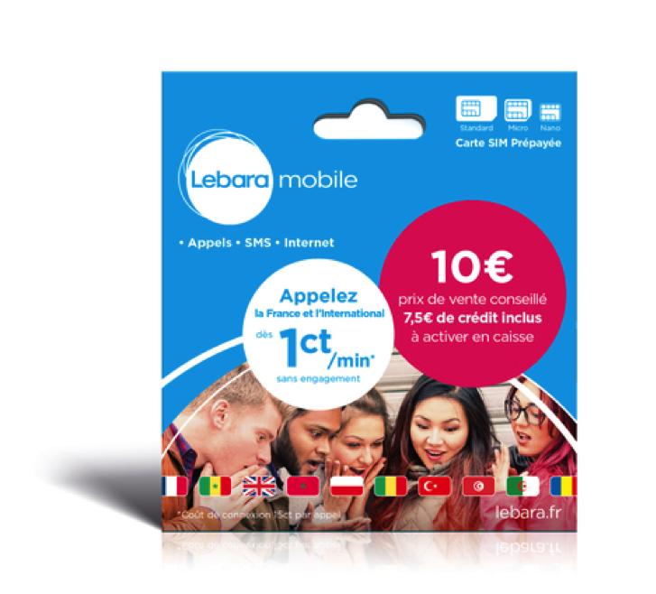 Lebara Mobile Carte Sim Prepayee Sans Abonnement Traverse Le Monde Tlm